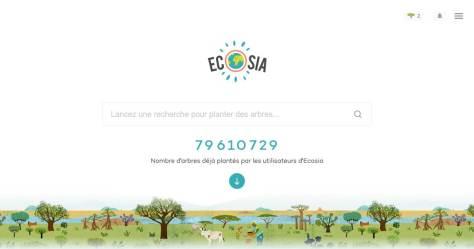 Moteur de recherche web Ecosia plante des arbres reboisement.