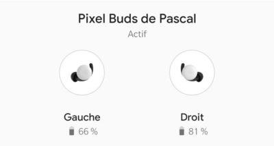 Niveau piles inégal Pixel Buds Google