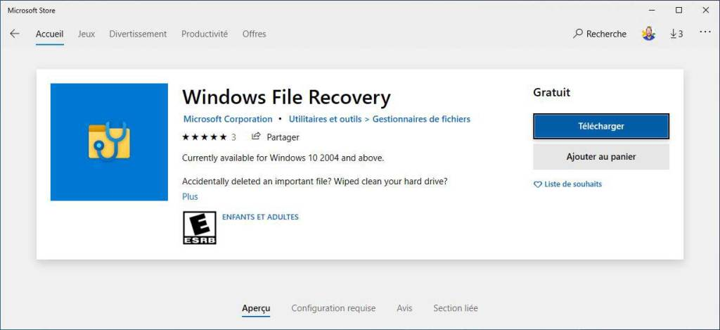 Récupérer ses fichiers avec Windows file recovery