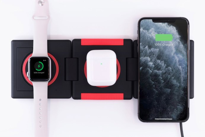 station de recharge Unravel chargeur téléphone Apple Watch Ampere Amperetech AW QI induction