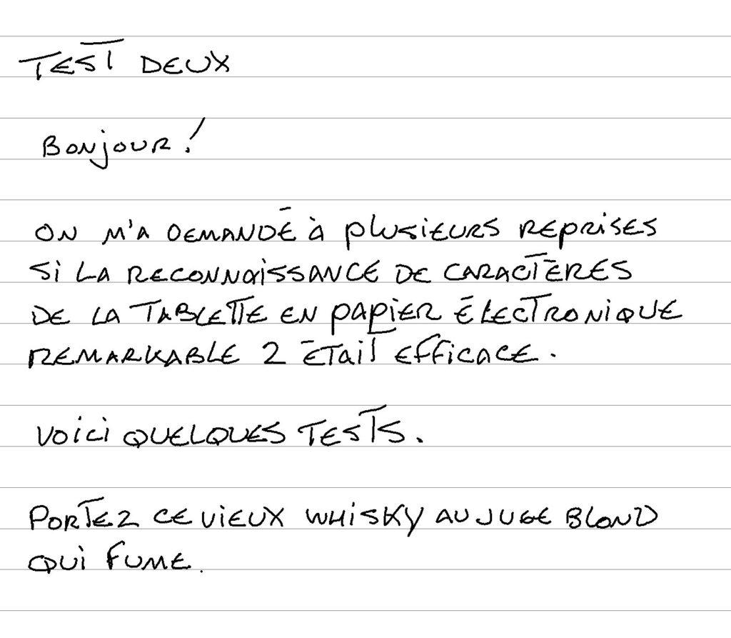 Test reconnaissance caractères tablette reMarkable 2 e majuscules en français