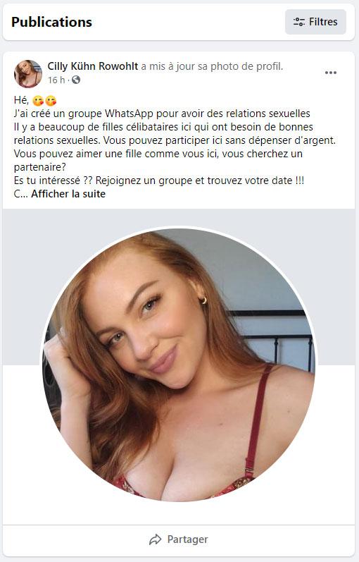faux compte facebook spam