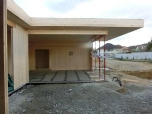 aussenansicht des rohbau-bungalows K in siegendorf - Paschinger Architekten