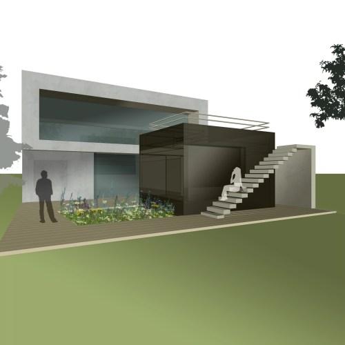 Vorentwurf/Rendering eines Einfamilienhaus aus Sichtbeton in Niederösterreich von den Paschinger Architekten aus Wien.