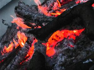 In the firelight