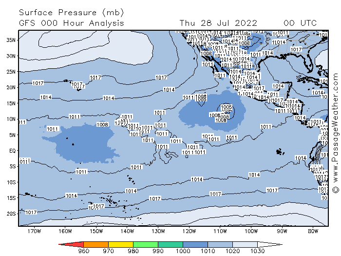Current Barometric Pressure Chart for Eastern Pacific