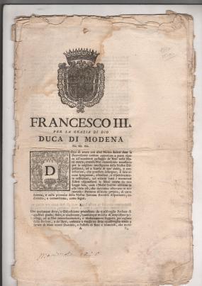 1770 Francesco III duca di Modena Ril a Milano Moto Proprio