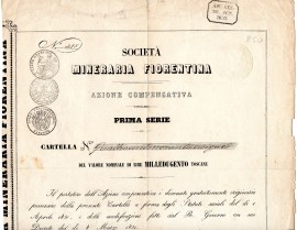 Soc, Mineraria Fiorentina az compensativa prima serie da 1200 lire Toscane Firenze 1850