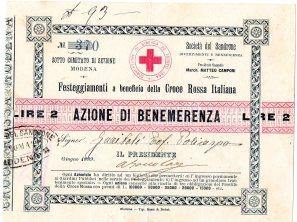 1889 Croce Rossa Modena Azione di Benemerenza