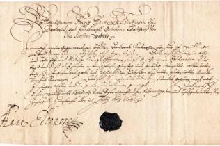 1636 Reisepass a firma Principessa Anna Eleonora (guerra dei 30anni)