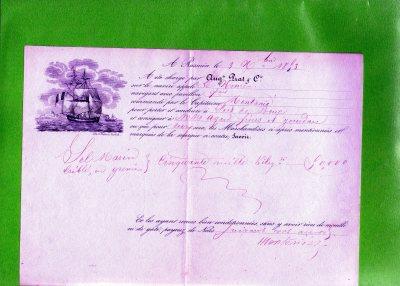 1853 Lettera di Carico polizza da Rassuen  x