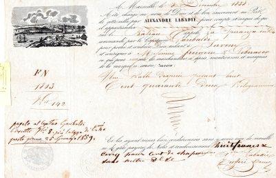 1859  Lettera di Carico   da Nizza a Savona  x il Capitano Garibaldi  ( DA STUDIARE FORSE ERA LO ZIO )