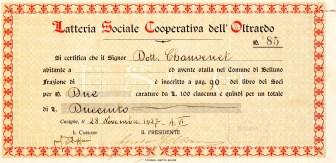 1927 ''Latteria Sociale Cooperativa dell'Oltrarbo''' dato a Cusighe