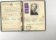 1947 Passaporto ril a Perico Luigi Pietro per il Belgio il 17 Luglio a Medelago Bergamo--da Notare Passaporto Modulo copertina Repubblica Italiana in vigore fino agli anni 50, sul fronte cancellato Tepubblica Italiana,all'interno Umbert