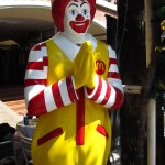 "i'm happy to report, Ronald McDonald still gives a cheery ""wai"""