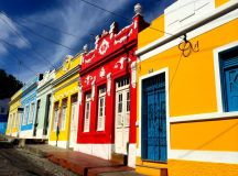 Colorfully painted houses in Olinda, Brazil.