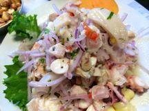 A plate of ceviche mixto at Canta Rana in Lima's Barranco district.