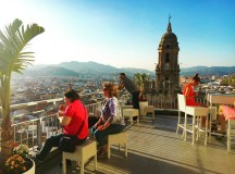 Catching sunset and overlooking Malaga's historic center.