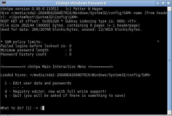 reset windows laptop password using chntpw