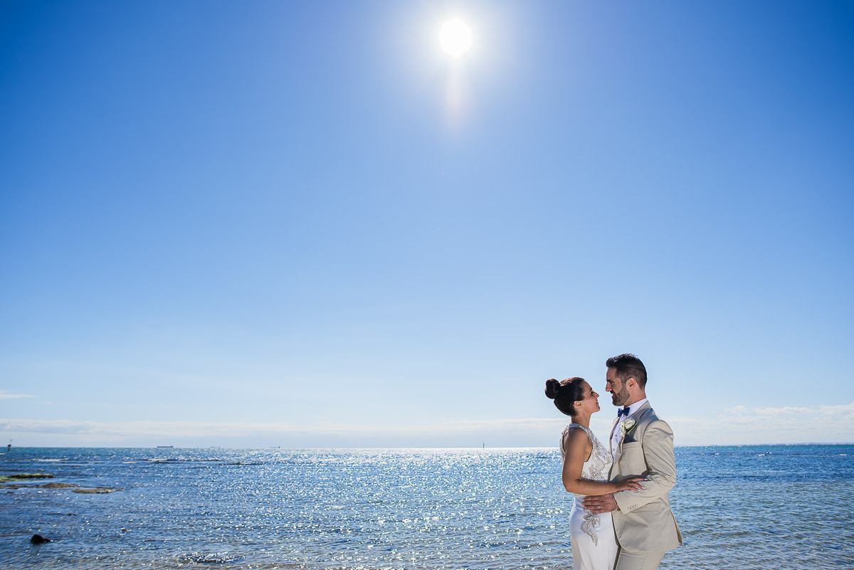wedding at Sandringham yacht club beach