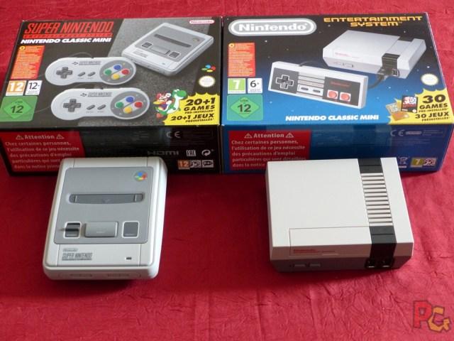 Mini SNES comparaison avec mini NES et boîtes
