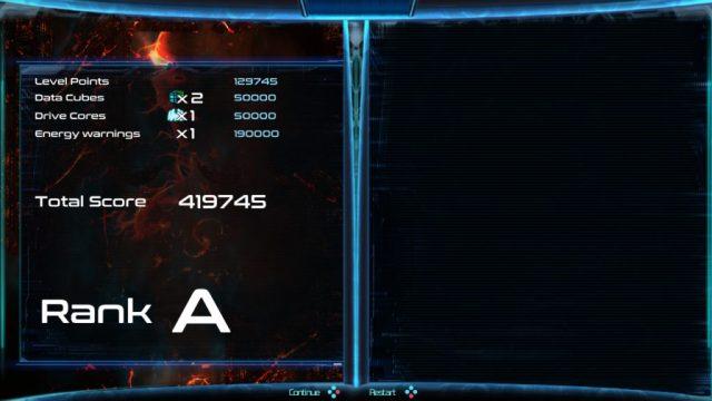Dimension Drive - score fin de niveau