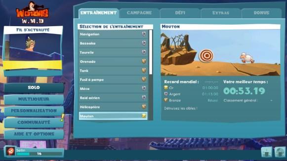 Test Worms WMD - liste des entrainements