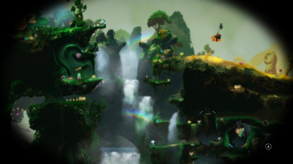 Un aperçu lointain de la forêt, ses cascades et arc-en-ciel