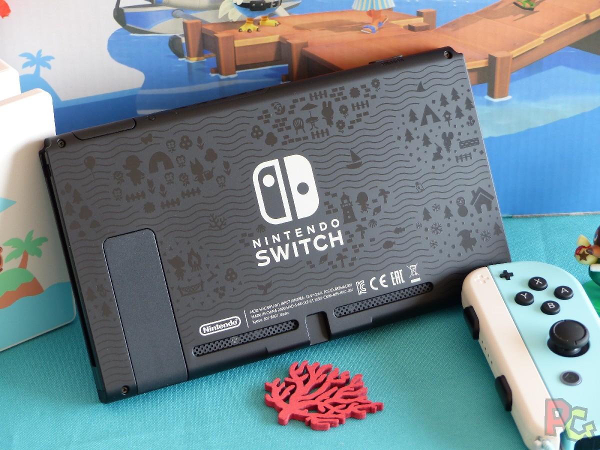 Switch édition limitée ACNH - arrière de l'écran avec relief