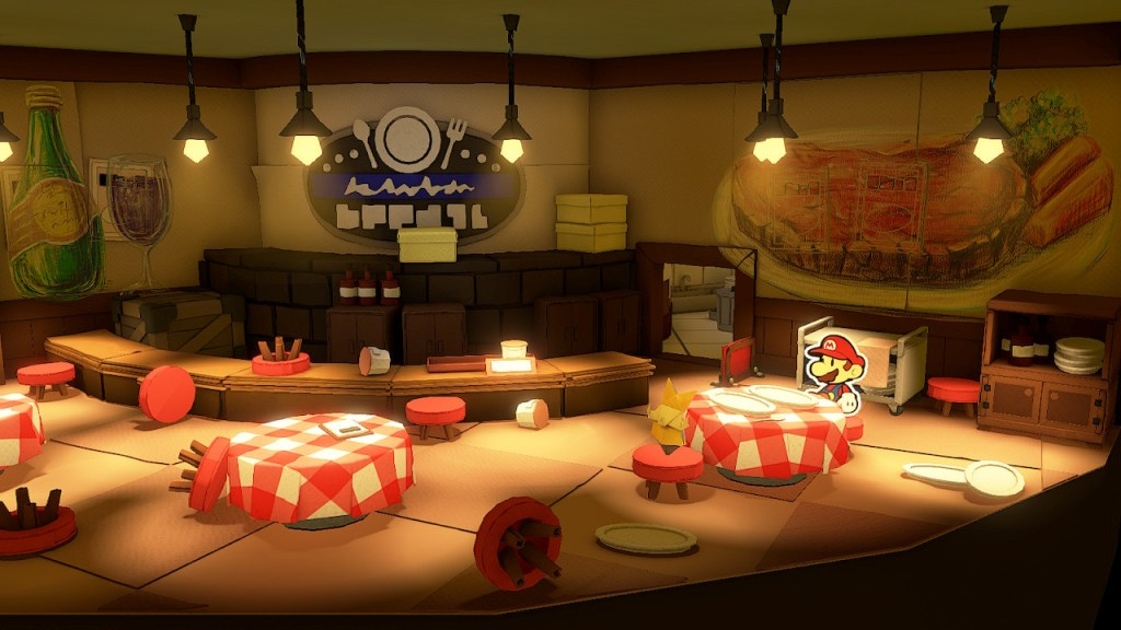 Paper Mario The Origami King - restaurant