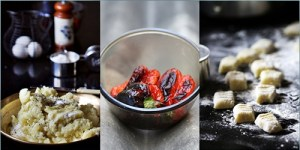 Homemade Potato Gnocchi with Roasted Pepper Cream Sauce -making