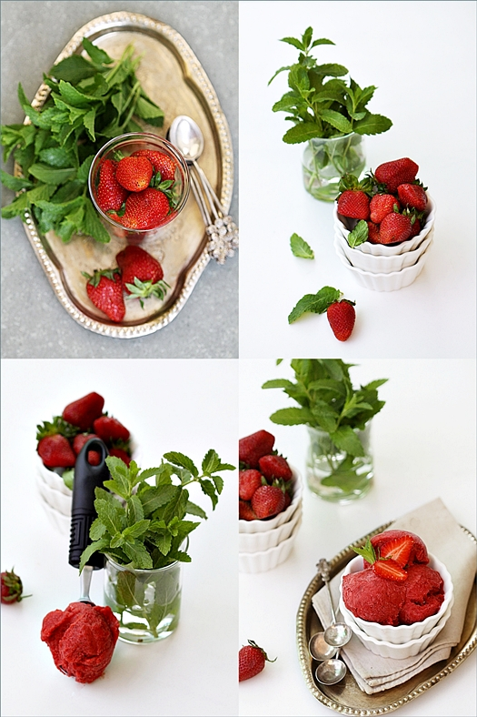 Strawberry Fresh Mint Sorbet