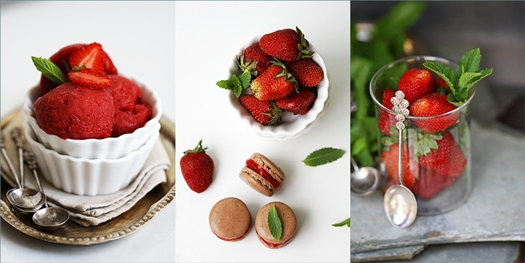 Strawberry Fresh Mint Sorbet & Macarons