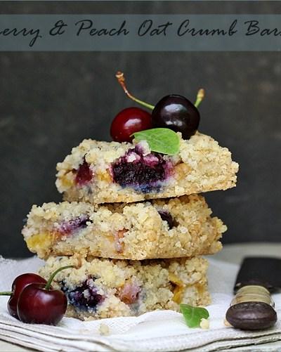 Baking| Cherry & Peach Oat Crumb Bars … stoned to comfort!