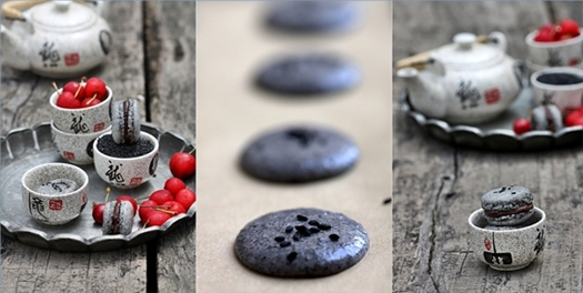 Black Sesame Macarons with Cherry Chocolate Ganache