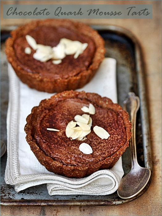 Baking| Chocolate Quark Mousse Tartlets in Almond Pastry {eggless} … inspired by friends!