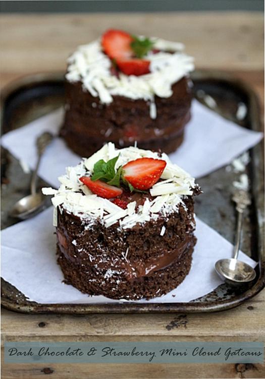 Baking| Dark Chocolate & Strawberry Mini Cloud Gateaus … For #NellysBigDay