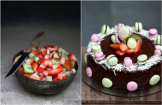 Cake Caron Strawberry Kiwi