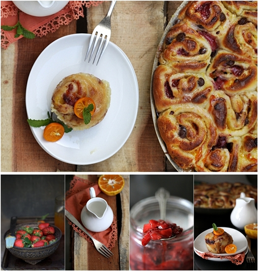 Sweet Orange, Roasted Strawberry & Chocolate Buttermilk Rolls