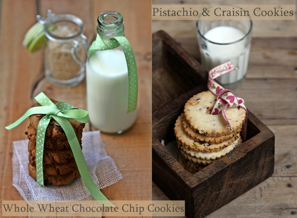 Whole Wheat Chocolate Chip Cookies with Smoked Sea Salt and Fluted Pistachio & Craisin Cookies 1