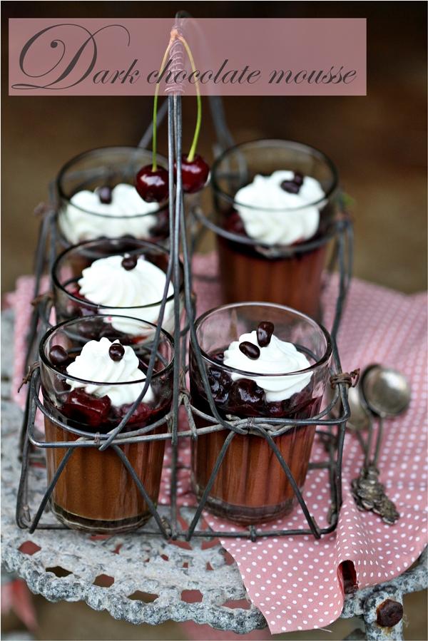 No Bake   Simplest & Best Dark Chocolate Mousse {2 ingredient}… with balsamic fresh cherries #chocolate
