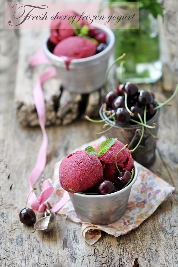 No Bake | Cherry Frozen Yogurt … summer is for stone fruit #lovestonefruit