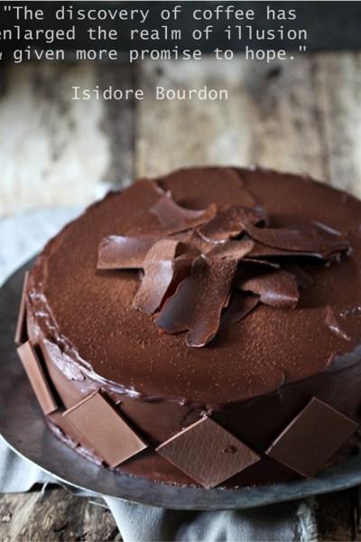 Baking   Layered Coffee & Cream Cake … coffee genoise with coffee cream swathed in a dark chocolate ganache