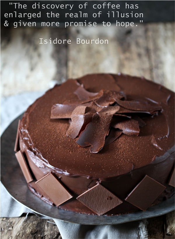 Baking | Layered Coffee & Cream Cake … coffee genoise with coffee cream swathed in a dark chocolate ganache