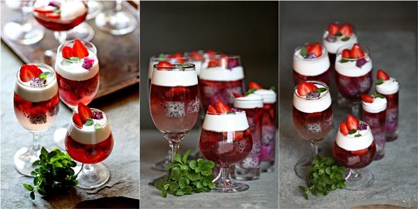 Dragon fruit & Strawberry Christmas Jelly