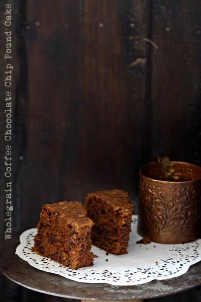 Baking | Wholegrain Coffee Chocolate Chip Pound Cake #healthy #wholegrain #delicious #coffee #teacake