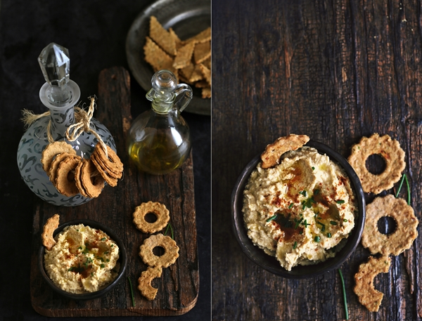Oat & Wheat Cheese Crackers & Hummus 8