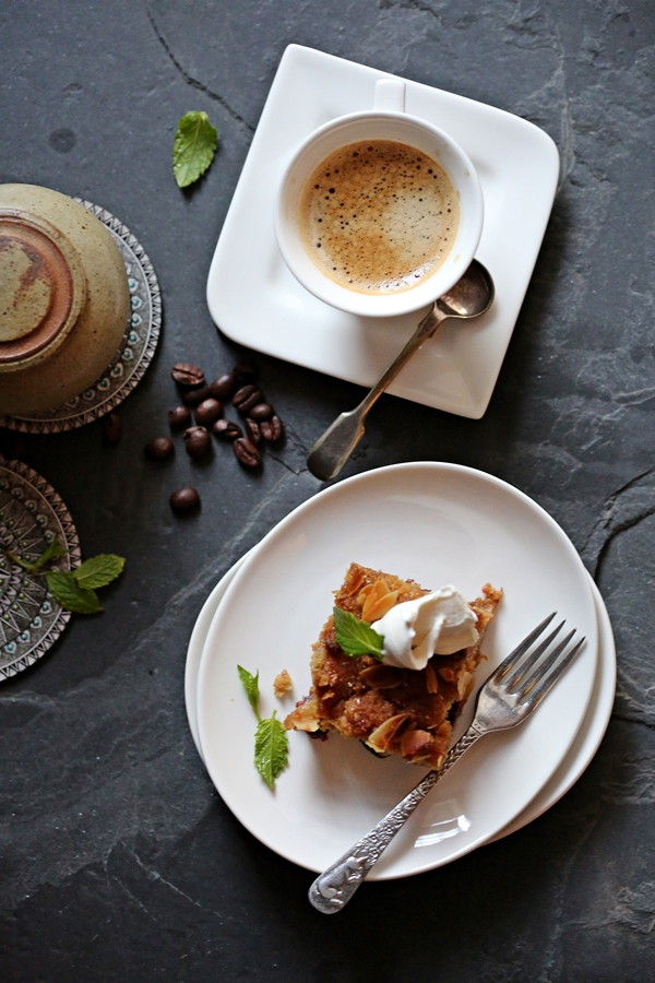 Wholegrain Peach and Cherry Tray Bake with espresso from Tecnora