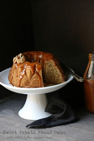 Baking   Sweet Potato Pound Cake with salted butter caramel sauce #autumn #wholefood #comfortfood