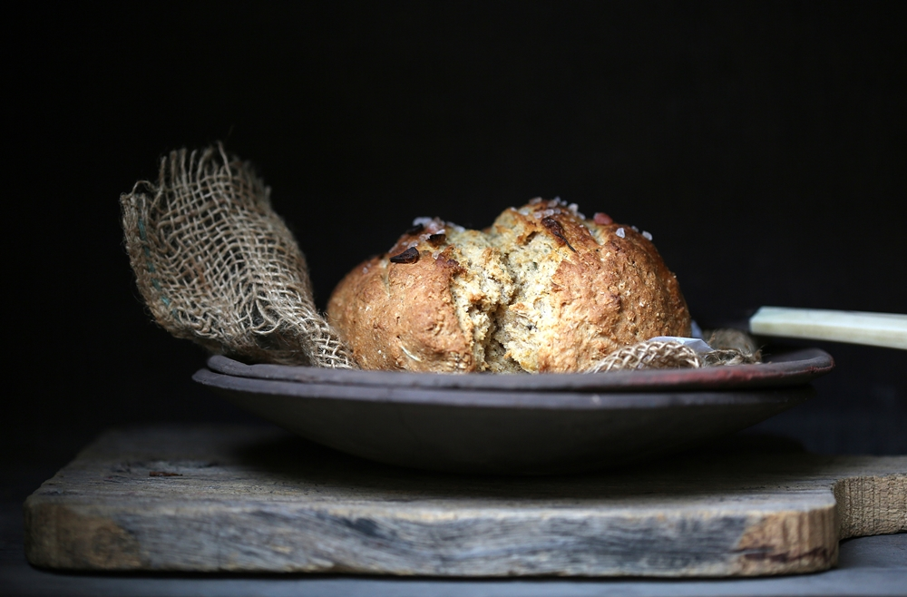Wholewheat Garlic Oat Soda Bread